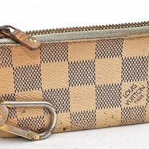 Authentic Louis Vuitton Damier Azur Pochette Cles Coin Case N62659 Lv 99360 Photo