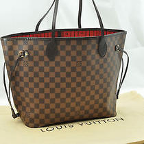 Authentic Louis Vuitton Damier Neverfull Mm Tote Bag N51105 Lv T342 Photo