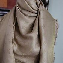 Authentic Louis Vuitton Gold Monogram Shine Silk Wool Shawl Scarf  675 Photo