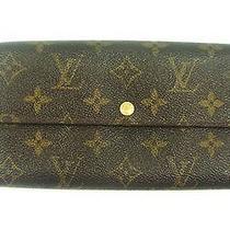 Authentic Louis Vuitton Monogram Canvas Leather Sarah Long Wallet Photo