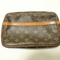 Authentic Louis Vuitton  Monogram Compiegne 23 Clutch Bag 7728 Photo
