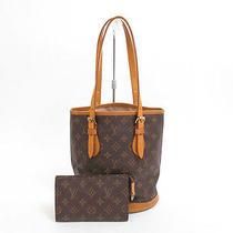 Authentic Louis Vuitton Monogram Tote Bag Petite Bucket With Pouch 3080 Photo