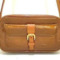 Authentic Louis Vuitton Monogram Vernis Christie Mm M91109 Bronze Shoulder Bag Photo