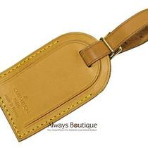 Authentic Louis Vuitton Natural Leather Luggage Tag Excellent Photo