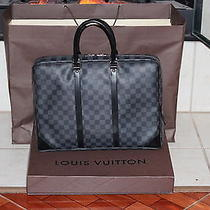 Authentic Louis Vuitton Porte-Documents Voyage Damier Graphite Handbag Photo