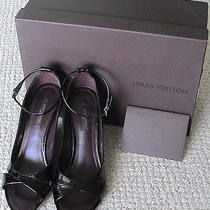 Authentic Louis Vuitton Sardegna Mv Leather Ankle Strap Wedge Sandals 37 - New Photo