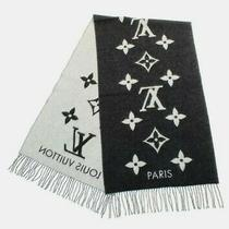 Authentic Louis Vuitton Scarf Cashmere in Black W/ Logo See Through Bag Photo