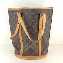 Authentic Louis Vuitton Tote Bag Bucket Gm M42236 Browns Monogram W/o Pouch Photo