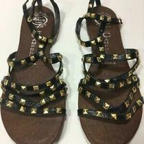 Authentic Luxury Jeffrey Campbell Gold Stud Gladiator Sandals in Black Size 8 M Photo