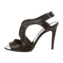 Authentic Manolo Blahnik Black Leather Cutout sandals6.5 It 36.5 Photo