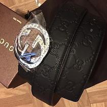 Authentic Men's Black Gucci Leather Belt W/ Silver Interlocking G 110cm 38/40 Photo
