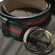 Authentic Men's Signature Double G Interlocking Gucci Belt Size 34 Photo