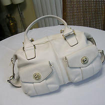 Authentic Michael Kors Ivory Leather W Two Front Logo Pocket Front Details Bag Photo