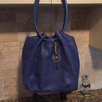 Authentic Michael Kors Leather Ring Tote Sapphire Blue With Defect Photo