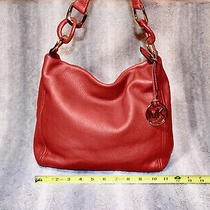 Authentic Michael Michael Kors Red Lamb Leather Purse Hobo Tote Bag Photo