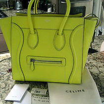 Authentic Mini Celine Citron Yellow Drummed Pebbled Leather Luggage Handbag Tote Photo