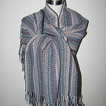 Authentic Missoni Zig-Zag Knit Wool Blended Blue Scarf With Trims Orange Lbl  Photo