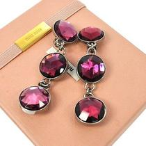 Authentic Miu Miu Earrings Clip-on Triplicates Stone Purple Italy Box 01j362 Photo