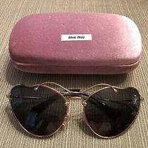 Authentic Miu Miu Gold Cat Eye Womens Sunglasses Smu 55r 70e-1a1 Photo