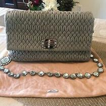 Authentic Miu Miu Matelasse Iconic Crystal Flap Grey Clutch Photo