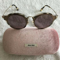 Authentic Miu Miu Sunglasses Smu51s Va8-6x1 Tortoise Shell Trim W/violet Lens Photo