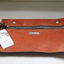 Authentic Miu Miu Wrist Purse Orange Leather With Suede Inside Photo