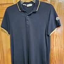 Authentic Moncler Tops Polo  Navy Shortsleeved Cotton  Photo