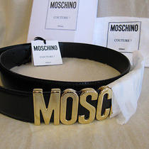 Authentic Moschino Black Gold Letter Leather Belt Redwall 44  M / L Photo