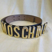 Authentic Moschino Black Gold Letter Logo Leather Belt Redwall 44 / M Photo