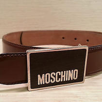 Authentic Moschino Brown Leather Belt W Silver/brown Moschino Buckle Sz 40 Photo