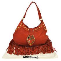 Authentic Moschino Fringe Hand Tote Bag Orange Gold Leather Vintage Italy C04666 Photo
