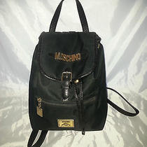 Authentic Moschino Vintage Black Redwall Backpack-Nylon/leather-Great Condition Photo