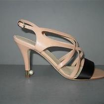 Authentic New 13p Chanel 36.5 Nude Black Leather Strappy Sandals Heels Shoes Nib Photo