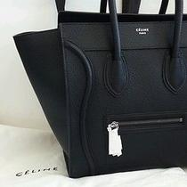 Authentic New 2014 Celine Pebbled Small Mini Black Luggage Leather Tote Bag Photo
