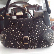 Authentic & New  Burberry Hackford Studded Black Leather Hobo Photo