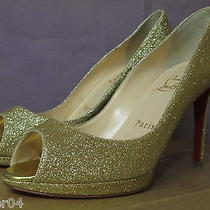 Authentic New Christian Louboutin Yolanda Gold Glitter Wedding Pump Shoe/39 Photo