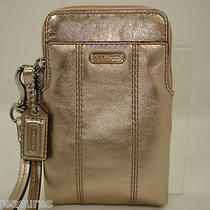 Authentic New Coach Wristlet 63936 Rose Gold Metallic Leather N/s Universal Case Photo