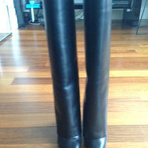 Authentic New Givenchy Fab Black Leather Fold Over Tall Wedge Boots 1900 (Nwob) Photo