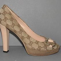 Authentic New Gucci 38 Beige Blush Guccissima Canvas Peep Toe Pumps Heels Nwob Photo