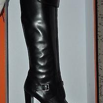 Authentic New Hermes Black Leather Buckled Knee High Heels bootseu39.5/us9.5 Photo