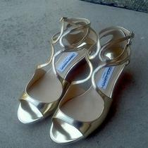 Authentic New Jimmy Choo Gold Inka Wedge Mirror Sandal Size 37/7 845 Current Photo