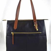Authentic New Nwt Fossil 178 Leather Fiona Black White Tote Photo