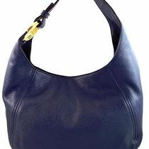 Authentic New Nwt Michael Kors 328 Leather Fulton Navy Blue Hobo Shoulder Bag Photo