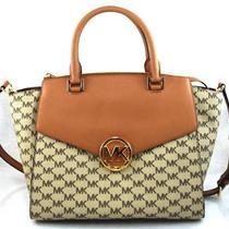 Authentic New Nwt Michael Kors 398 Hudson Brown Large Satchel Crossbody Bag Photo
