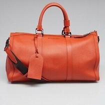 Authentic New Rare Leather Orange Burberry Luggage Bag Photo
