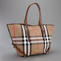 Authentic Nwt Burberry Bridle House Check Small Salisbury Brown Tote Italy Cards Photo