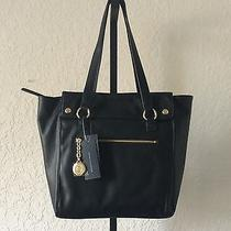 Authentic Nwt Tommy Hilfiger Faux Leather Shoulder Tote Black Photo