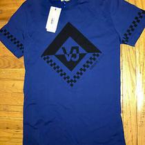 Authentic Nwt Versace Jeans Print Vj T- Shirt Black Blue Size M Cotton Photo