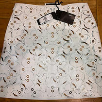 Authentic Nwt Versace White Leather With Metal Ladies Skirt Retails 4325 Sz 38 Photo