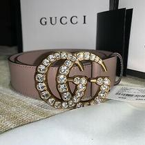Authentic Nwt Womens Gucci  Leather Belt Gold Double Gg Size 85cm Photo
